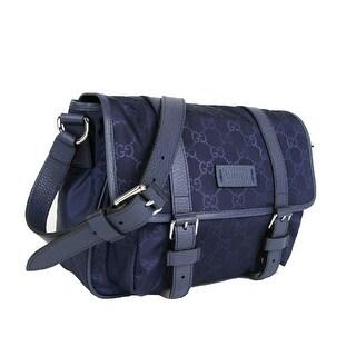 Gucci GG Logo Navy Blue Nylon Small Messenger Bag 510335