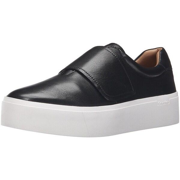 Calvin Klein Womens Jaiden Low Top Slip On Fashion Sneakers, Black, Size 9.5