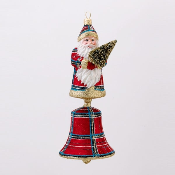 "8"" David Strand Designs Glass Santa Bell Stewart Plaid Christmas Ornament"