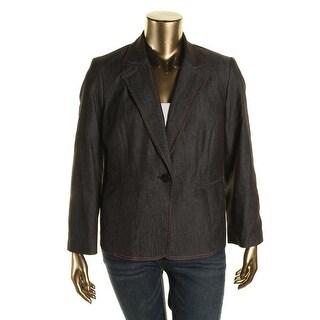 Nine West Womens Plus Notch Collar Long Sleeves One-Button Blazer