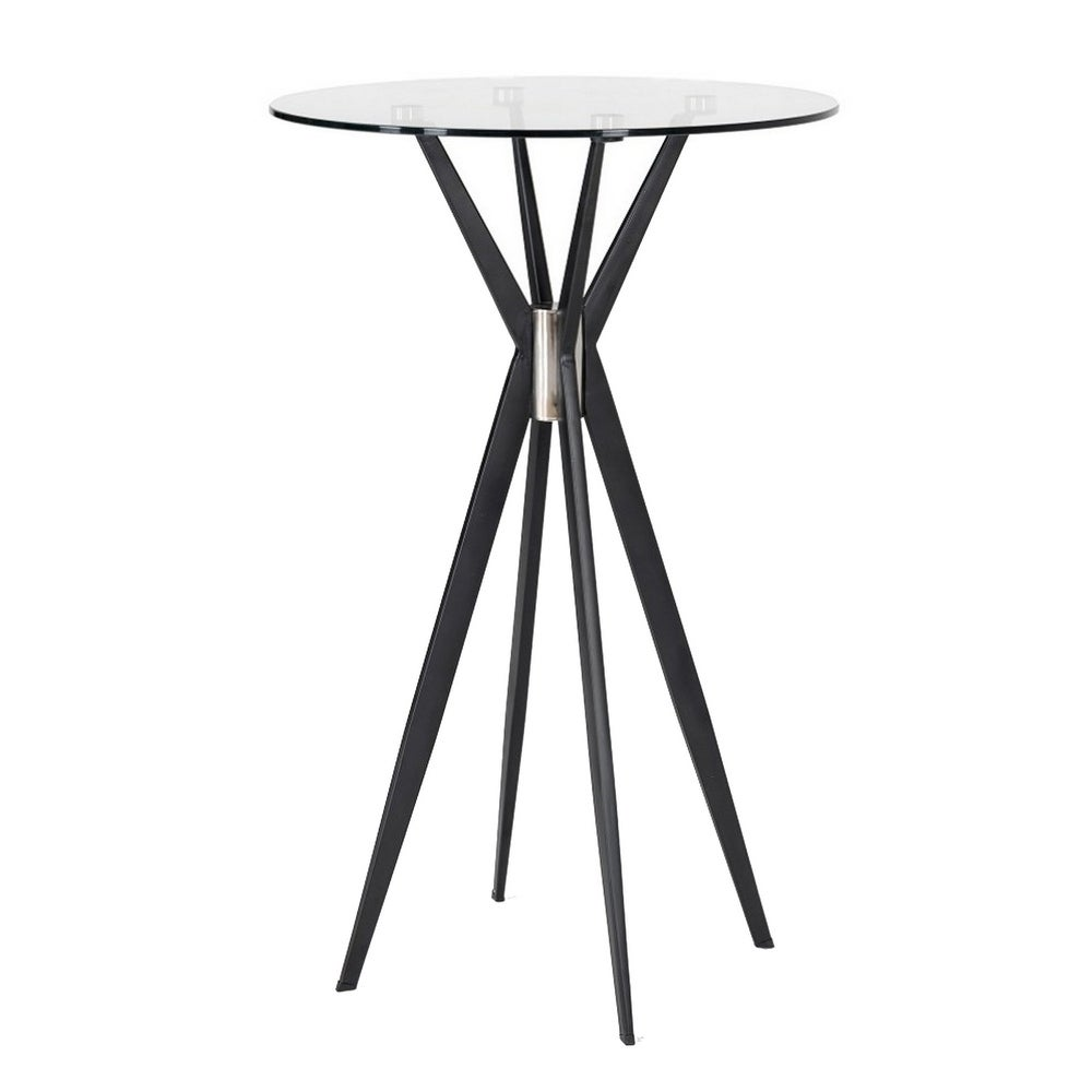 10mm Round Glass Top Bar Table with Flared Leg, Black (Black Glass)