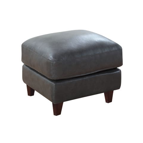 Landon Top Grain Leather Ottoman