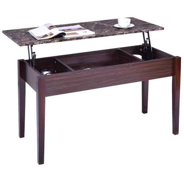 Best Faux Marble Coffee Table: Shop Costway Faux Marble Lift Top Coffee Table W/ Hidden