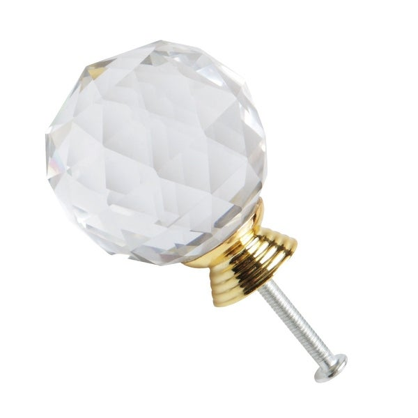 40mm Dia Crystal Knobs Aluminum Alloy Base Round Shape Knob Drawer Pull Handle Cabinet Cupboard Wardrobe Dresser Decorative