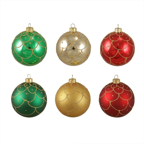"6ct Glittered Scallop Design Shatterproof Christmas Ball Ornaments 3.25"" (80mm) - multi"