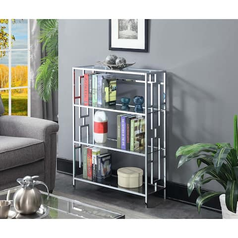 Silver Orchid Abeles Square Chrome 4-tier Bookcase