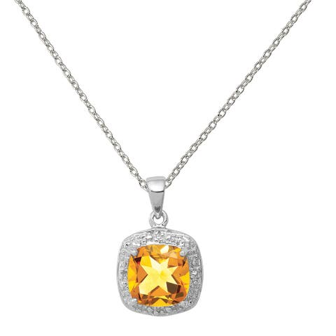 Sterling Silver Rhodium Citrine and Diamond Pendant with 18-inch Cable Chain by Versil