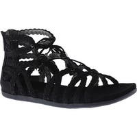 Kenneth Cole Reaction Women's Slim Loop Lace Up Sandal Black Microsuede