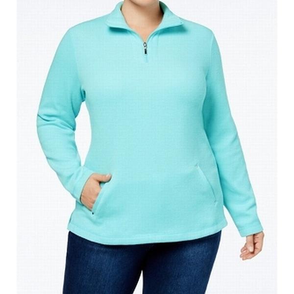 Karen Scott Angel Blue Womens Size 1X Plus 1/2 Zip Pullover Sweater