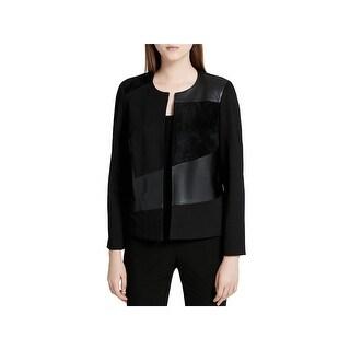 Calvin Klein Womens Jacket Mixed Media Collarless