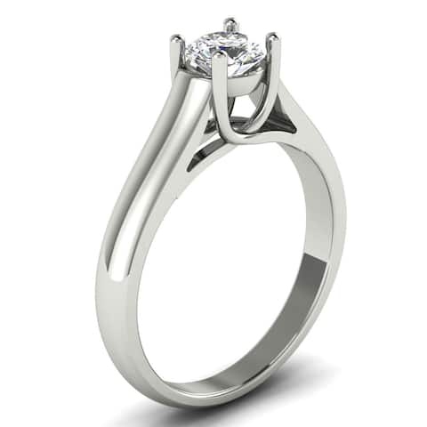1/2 CT 4-Prong Round Cut Diamond Solitaire Engagement Ring in 14KT