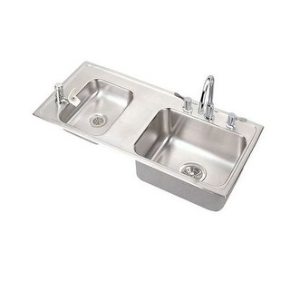 """Elkay DRKAD371755LC Lustertone 37-1/4"""" Double Bowl Drop In Sink With Faucet and Bubbler and Strainers"""