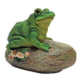 Design Toscano Thurston, the Frog, Garden Rock Sitting Toad Statue