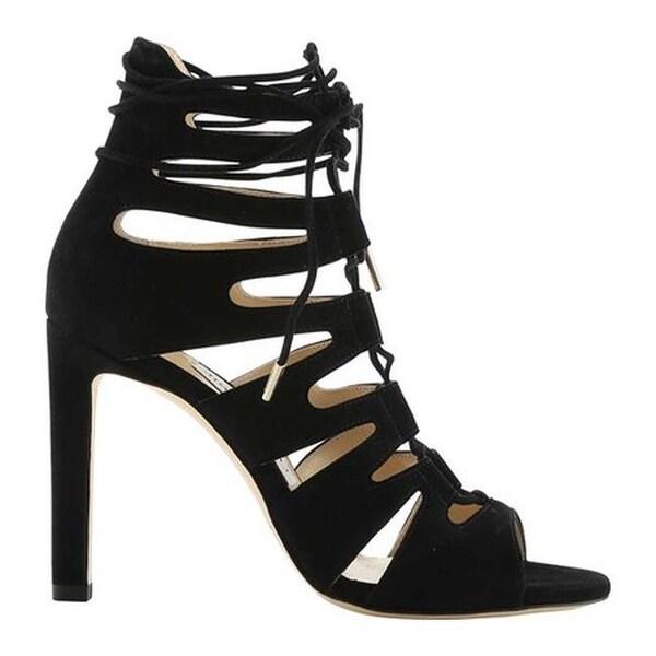 2d8d9b0bec1dcd Shop Jimmy Choo Women s Hitch 100 Suede Lace-Up Cage Sandal Black ...