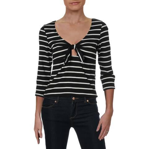 Ultra Flirt Womens Crop Top Striped Three-Quarter Sleeves - L