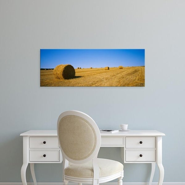 Easy Art Prints Panoramic Images's 'Haystacks in a field, North Dakota, USA' Premium Canvas Art
