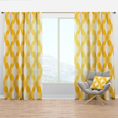 Designart 'Abstract Retro Geometric Pattern IV' Mid-Century Modern Curtain Panel