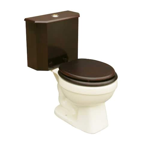 Round Toilet with Cherry Wooden Tank and Bone China Bowl Renovator's Supply