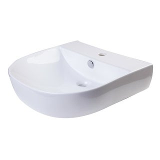 """ALFI brand AB110 20"""" Porcelain D-Bowl Wall Mounted Bathroom Sink with 1 Faucet H - White"""
