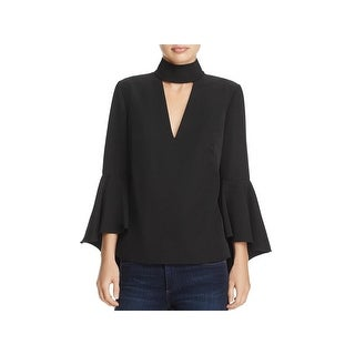 Milly Womens Andrea Choker Top Keyhole Bell Sleeve