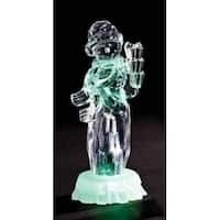 "7.75"" Icy Crystal LED Lighted Whimsical Snowman with Stack of Gifts Christmas Figure"