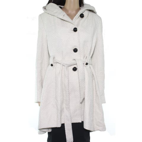 Steve Madden Womens Coat White Ivory Size XL Basic Button Front Belted