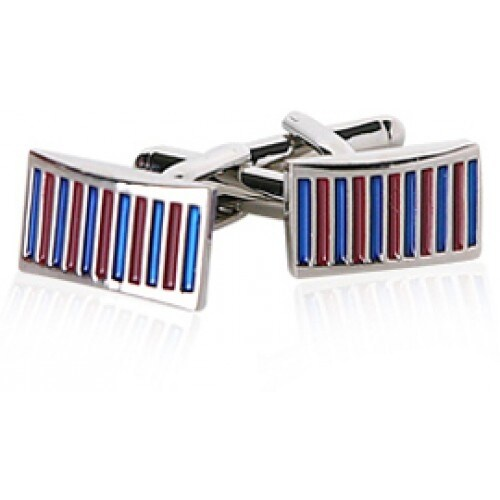 Blue And Red Thin Stripe Cufflinks
