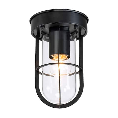 1-Light Black Flush Mount with Clear Glass Shade - D 4.75 in. x H 7.25 in