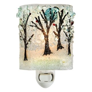 Reborn Glass Four Seasons Night Light: Winter Woods - Hand Made Fused Glass Art Glass Upcycled Bottle Glass Plug In