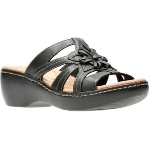 8b64f0e45de Clarks Women s Delana Venna Slide Black Full Grain Leather