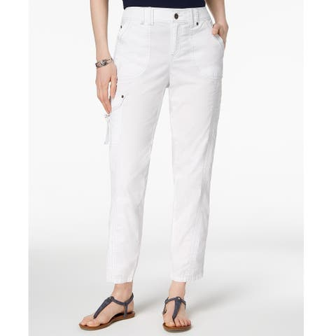 Style & Co Women's Topstitched Pants Bright White Size 16