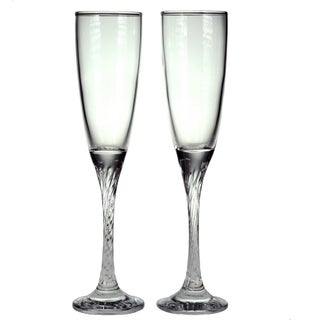 Style Setter Private Party Twist Stem Flutes, Set of 2