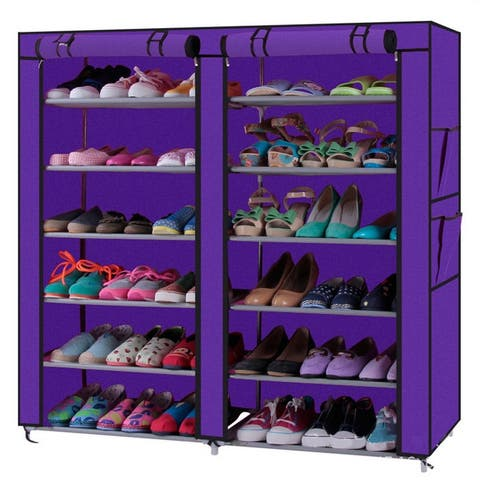 6 Layers 12 Lattices Dual Rows Non-woven Fabric Shoe Rack