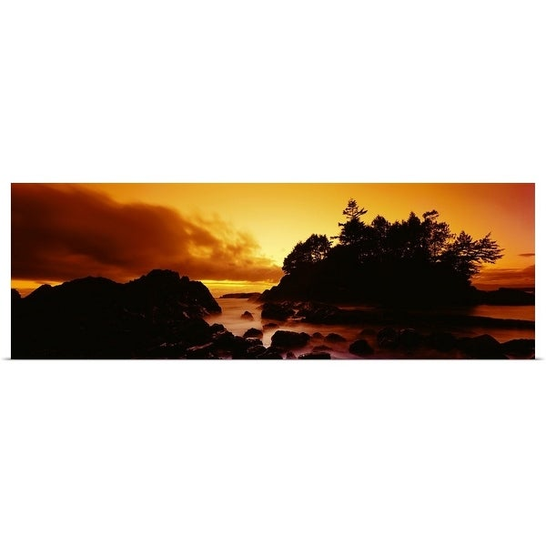 """Silhouette of rocks and trees at sunset, Tofino, Vancouver Island, British Columbia, Canada"" Poster Print"