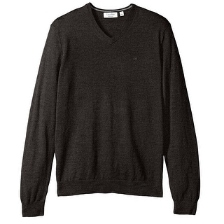 Calvin Klein NEW Black Mens Small S Merino Wool Solid V-Neck Sweater