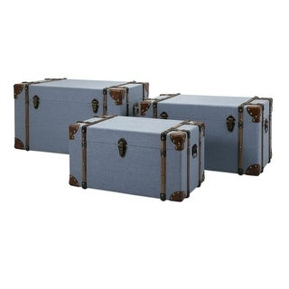IMAX Home 78207-3  Fullerton Three Piece Plywood Trunk Set with Metal Accents - Blue