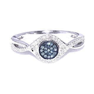 Blue and White Diamond Ring Promise Engagement Ring 0.18cttw 10K White Gold(I/j Color 0.18cttw) By MidwestJewellery