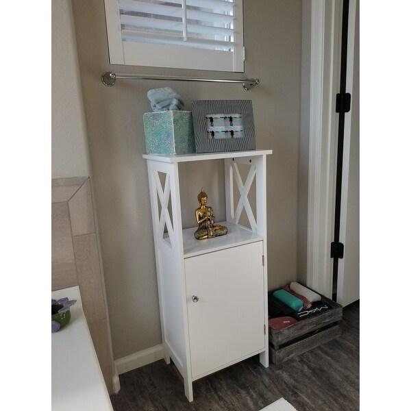 Shop Costway Floor Cabinet Bathroom Organizer Floor Towels Storage Cabinet  Single Door   Free Shipping Today   Overstock   20708403