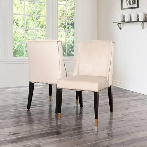Abbyson Camira Cream Studded Velvet Dining Chair