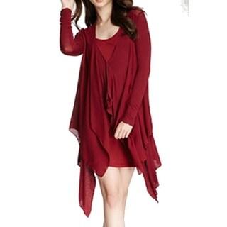 Miilla NEW Red Women's Medium M Draped Asymmetrical Cardigan Sweater