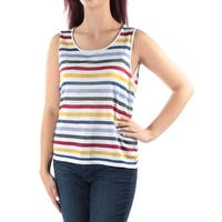 ANNE KLEIN Womens White Striped Sleeveless Scoop Neck Top  Size: L