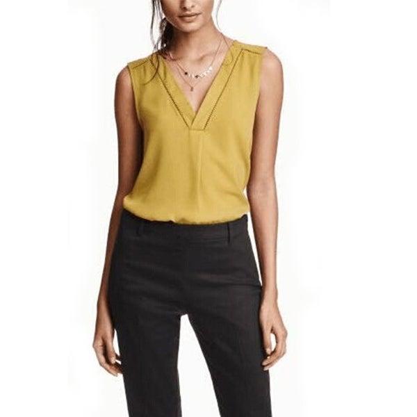 5f7191d6fb03c Women Sexy V-neck Sleeveless Chiffon Long Blouse Carve Hem Ladies Casual  Solid Shirts Summer