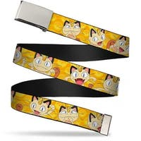Blank Chrome Buckle Meowth Expressions Yellow Webbing Web Belt