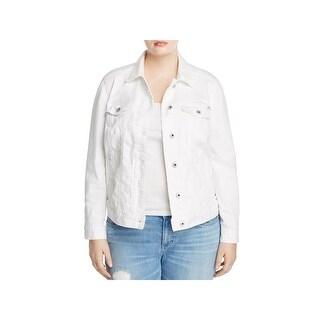Lucky Brand Womens Plus Denim Jacket Floral Print Long Sleeves