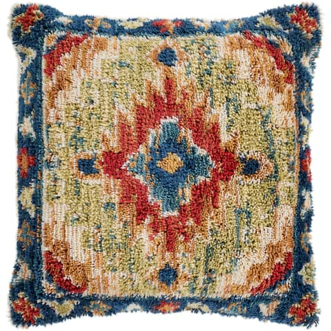 "Dakota Navy & Orange Bohemian Shag Throw Pillow Cover (20"" x 20"")"