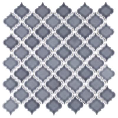 "SomerTile Hudson Tangier Imperial Grey 12.38"" x 12.5"" Porcelain Mosaic Tile"