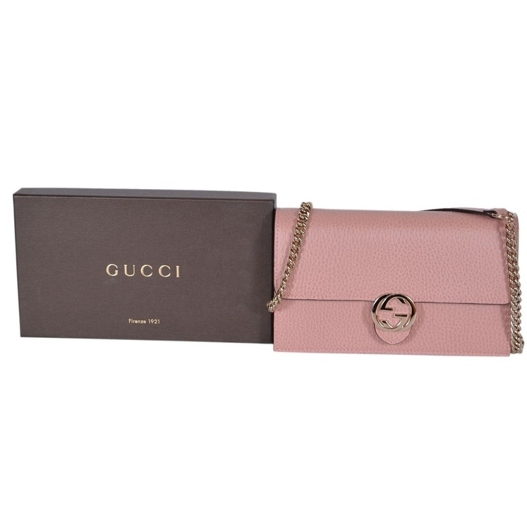 3fc4d4aaba7 Shop Gucci 510314 Pink Leather Interlocking GG Crossbody Wallet Bag Purse  Clutch - Soft Pink - 7.5