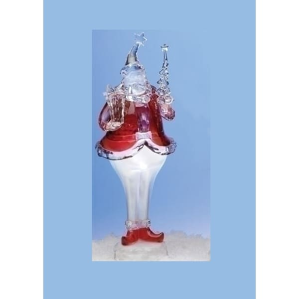 Icy Crystal LED Vibrant Red Santa Claus with Present Christmas Figure