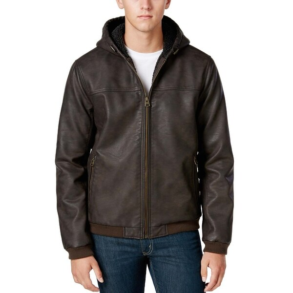 Shop Levi's Faux Leather Hoodie Sherpa Lined Bomber Jacket X