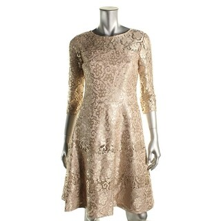 Kay Unger Womens New York Metallic Lace-Trim Cocktail Dress